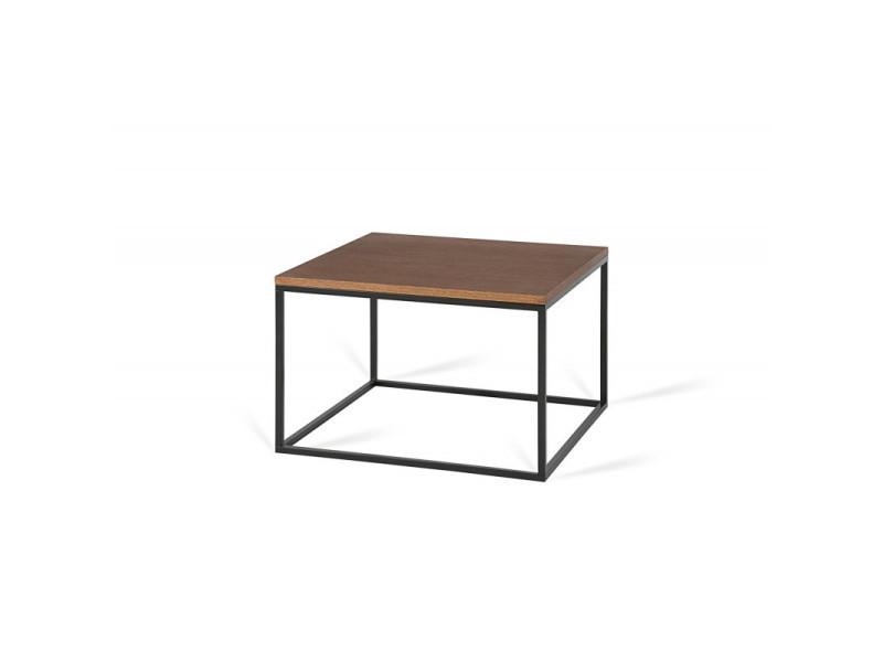 Table basse carrée industrielle 60 cm helisa / coloris : chêne foncé