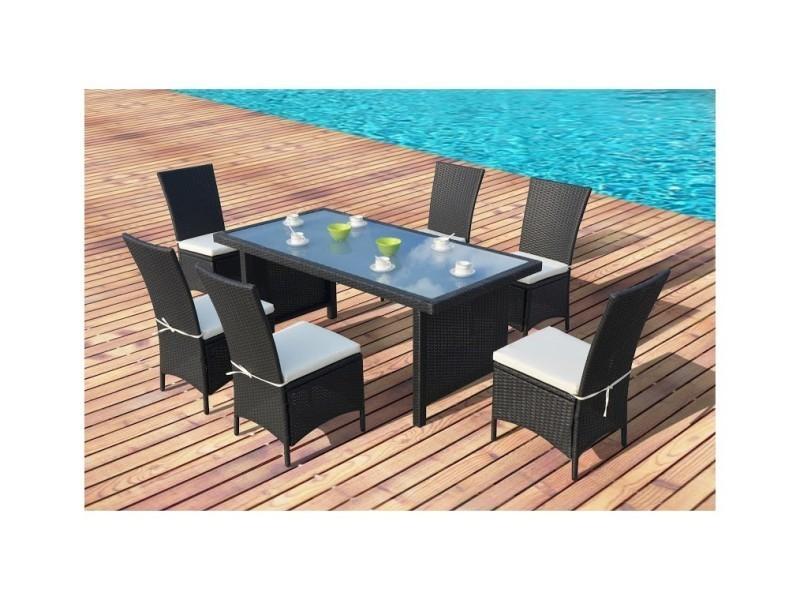 Magnifique salon de jardin vitoria table + 6 fauteuils en resine tressee ...