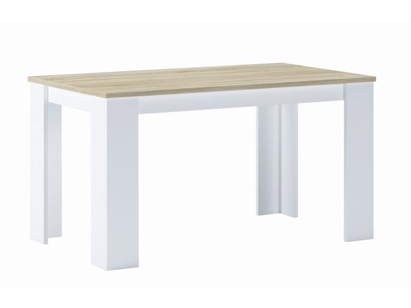 Table de salle à manger, chêne clair-blanc,80x138x75cm