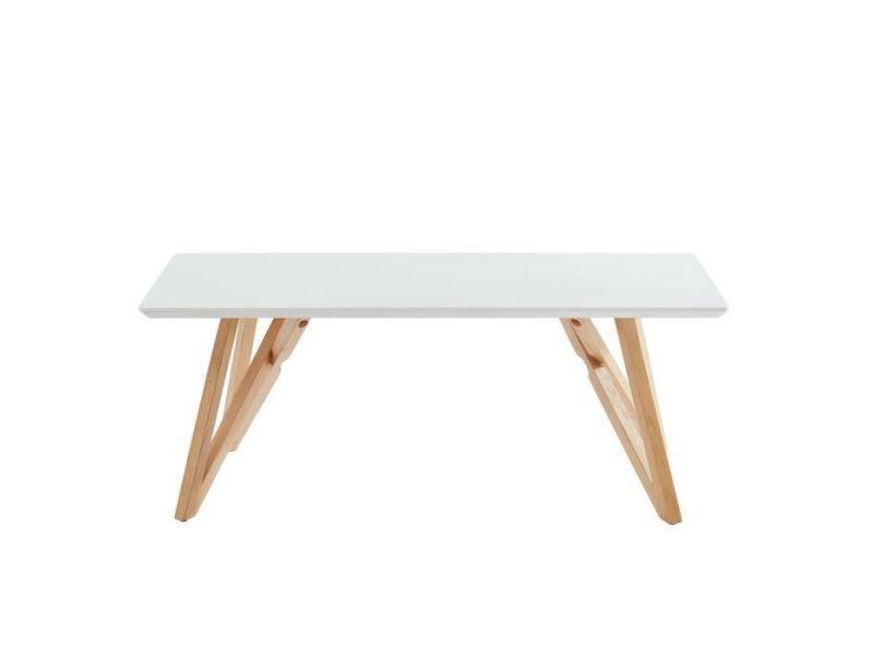 Table Basse Lulea Table Basse Scandinave Blanc Laque Brillant