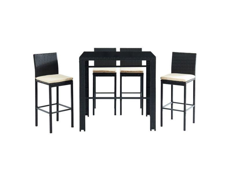 Salon de jardin en résine tressée noire avec table de bar et 4 chaises ...