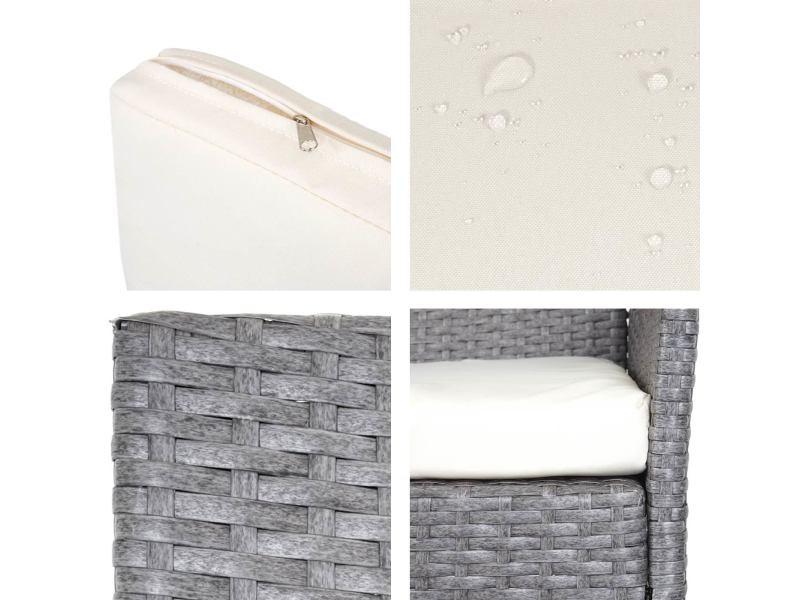 2x fauteuil de jardin halden en polyrotin ~ gris, coussin ...
