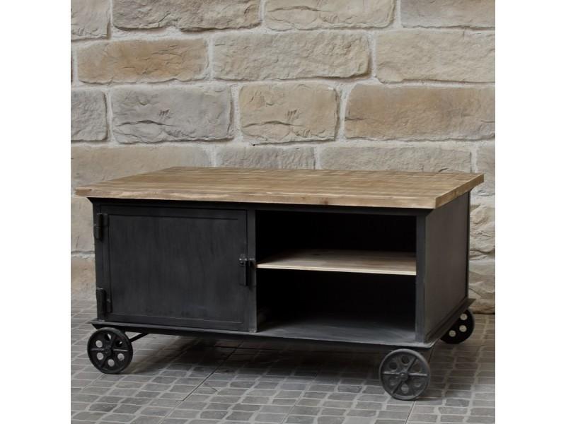 Table basse de salon à roulettes bois fer industriel campagne 104x69 cm 10837-BIS