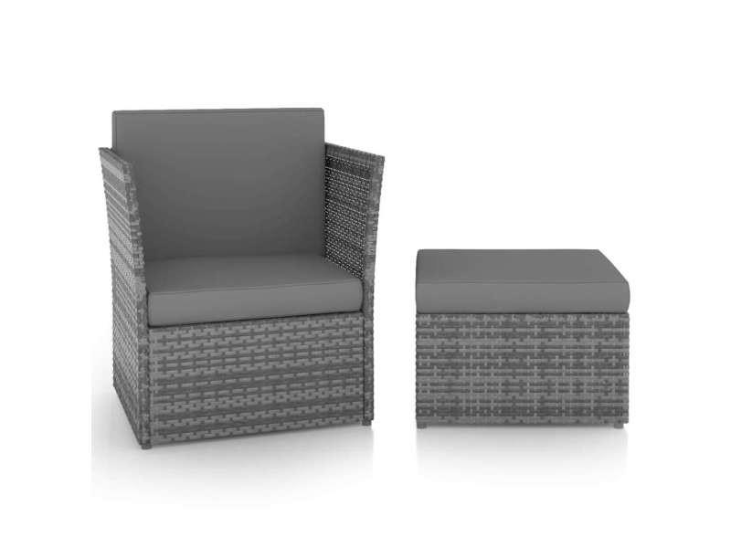 Vidaxl chaise de jardin avec tabouret résine tressée anthracite