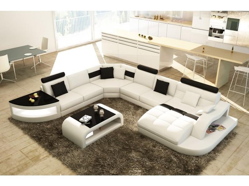 Canapé d'angle design panoramique blanc et noir istanbul (droit)-