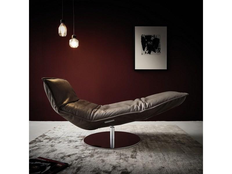 Chaise longue cuir relax lazy boy chocolat sur batterie