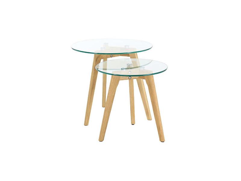 Lot De 2 Tables Gigognes En Bois Et Verre Vente De Table