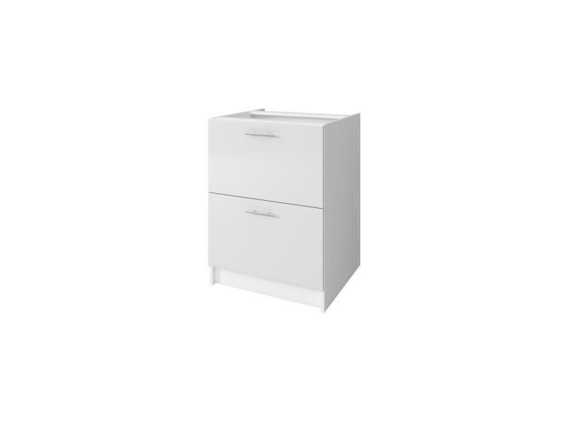 Obi meuble bas casserolier avec 2 tiroirs l 60 cm - blanc et blanc laqué brillant