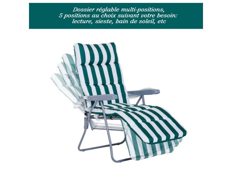 Lot de 2 chaise longue bain de soleil adjustable pliable transat lit ...