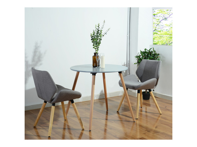 Table A Manger Grise 4 Places Ronde Bois Vente De Generique