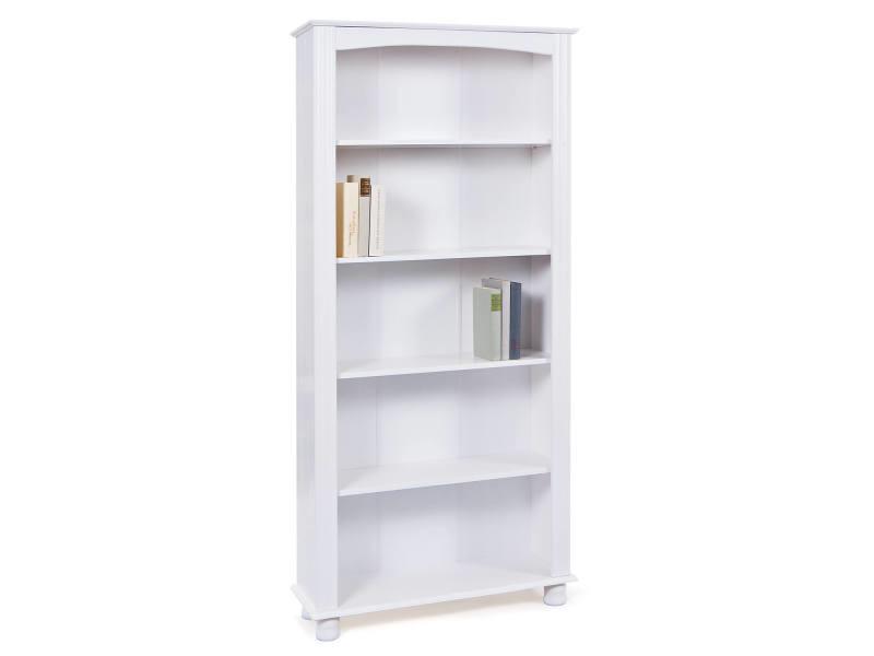 Bibliothèque en pin massif laqué blanc 8052773486040