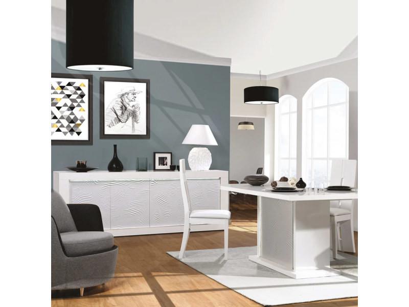 Salle à manger blanche laquée design karl - Vente de ...