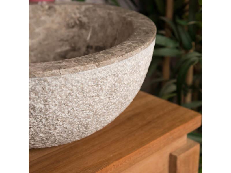 Lave mains en marbre à poser stromboli gris taupe 35cm 32017 ...