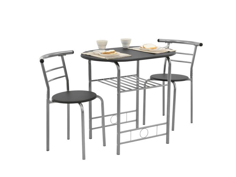 Merveilleux [en.casa]® Set De Salle à Manger Table Avec 2 Chaises Set De Bistro Noir Et  Argent 80 X 53 X 74,5 Cm