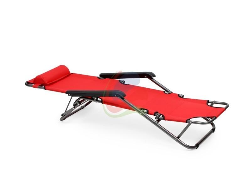 Positions Rouge Longue Jardin Transat 3 Vente Chaise Plage De XON0wPnkZ8