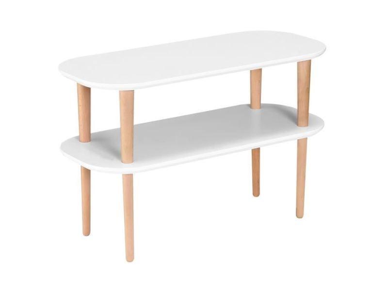 Meuble tv - meuble hi-fi meuble tv inkeri scandinave en mdf blanc laqué mat + pieds bois massif - l 80 cm