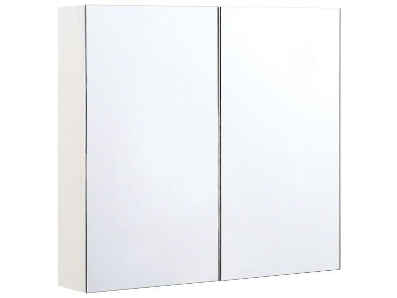 Armoire de toilette blanche avec miroir 80 x 70 cm navarra 293129