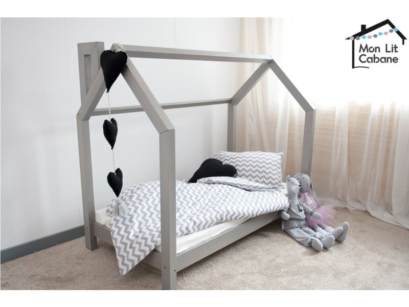 lit cabane c gris 80x190 vente de monlitcabane conforama. Black Bedroom Furniture Sets. Home Design Ideas