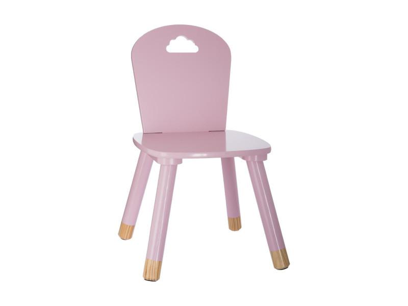 Chaise douceur rose pour enfant en bois