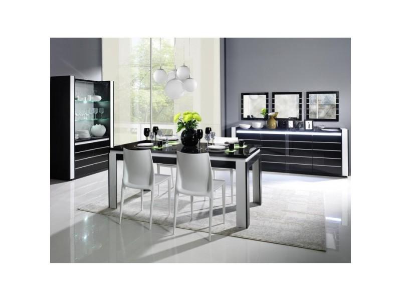 Salle A Manger Complete Lina Noire Et Blanche Table 160 Cm