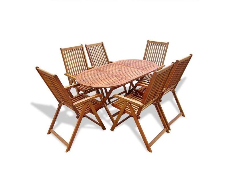Vidaxl mobilier de jardin 7 pcs avec table extensible bois 41815 vente de vidaxl conforama - Mobilier de jardin bois ...