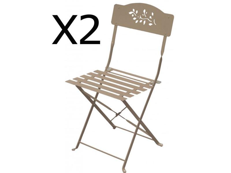Lot de 2 chaises pliantes de jardin en acier et textilène, coloris crema -pegane-