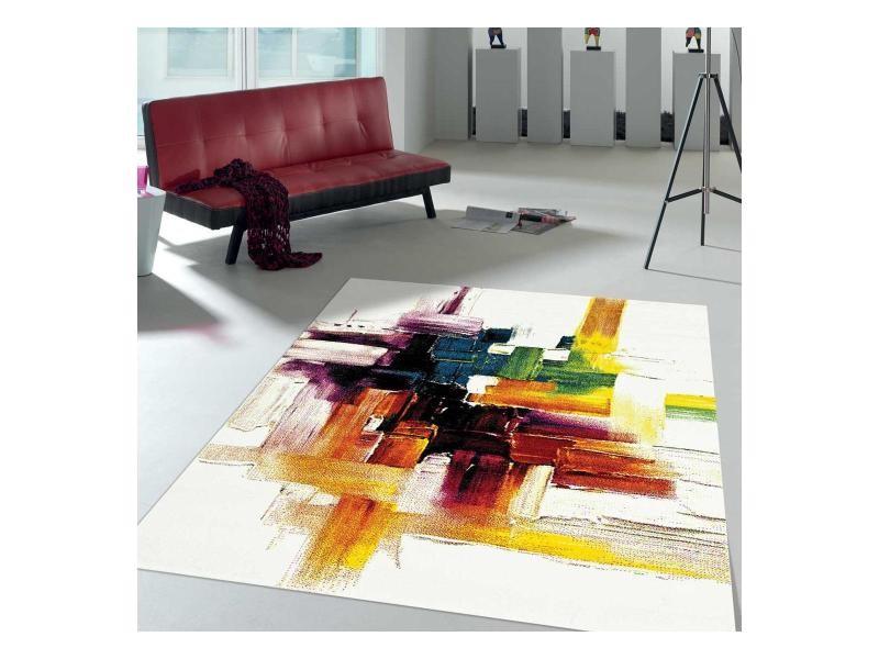 Tapis contemporain pour la chambre jolia 3 noir, creme, rouge, jaune ...