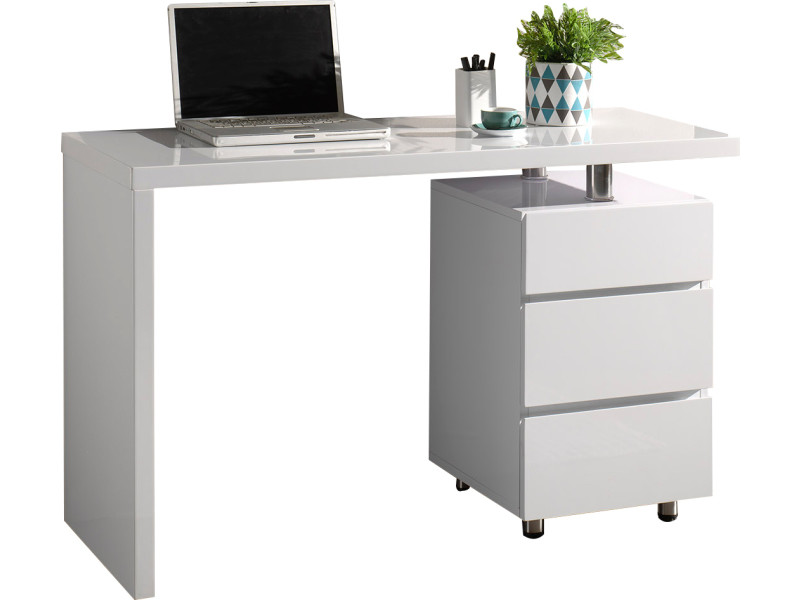 Bureau design avec 3 tiroirs blanc laqué en bois mdf 120 cm de ...