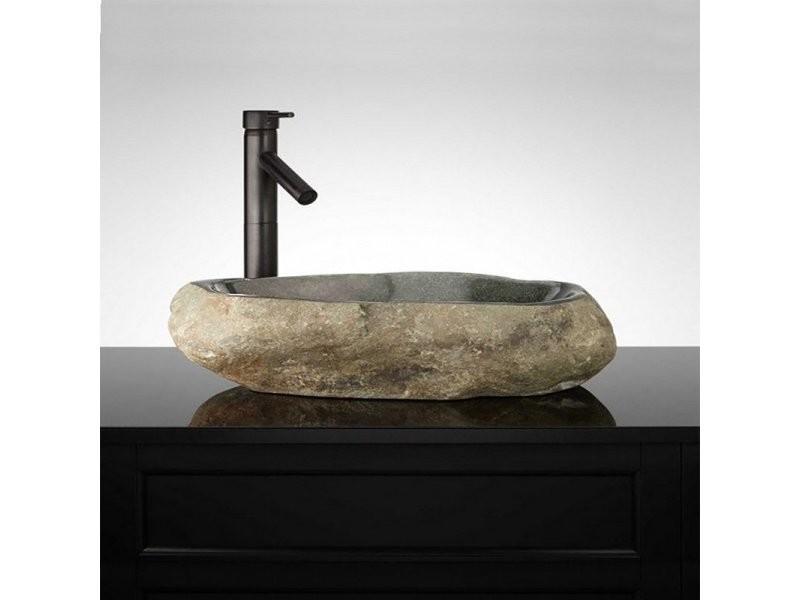 vasque a poser pierre de riviere Vasque à poser 60 cm en pierre de rivière, galéo