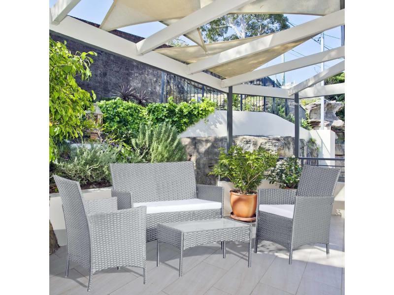 Mykonos Gris Blanc Salon De Jardin 4 Places En Resine Tressee