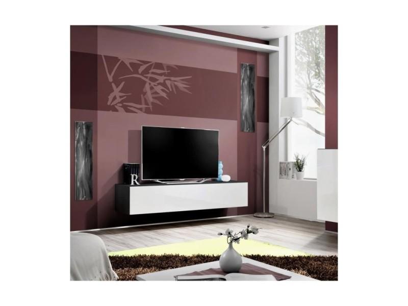Price factory - meuble tv fly design, coloris noir et blanc ...
