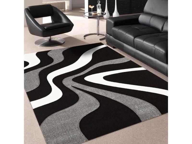 Tapis tendance pour la chambre nodage noir, gris, blanc 60 x 110 cm ...