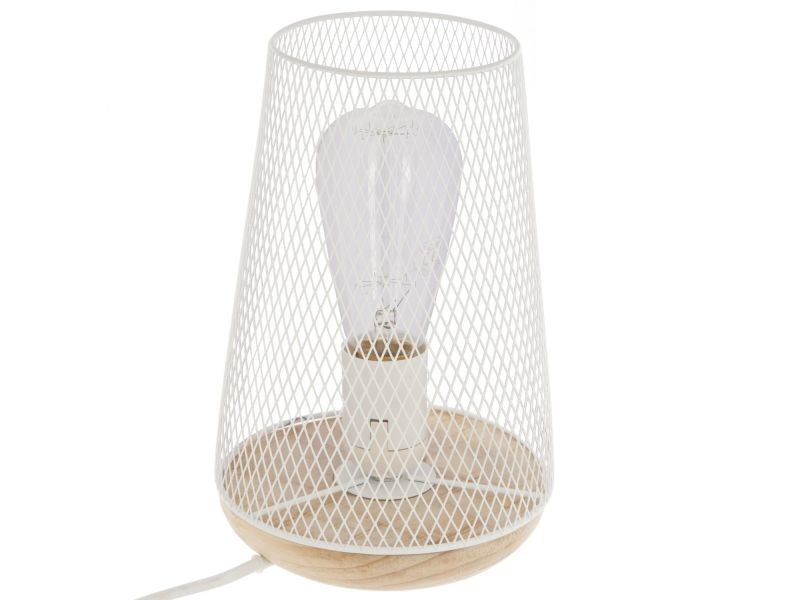 Lampe Otu Blanc En Bois Vente Poser Cm De Fer H23 À Et ulKJ3TF1c