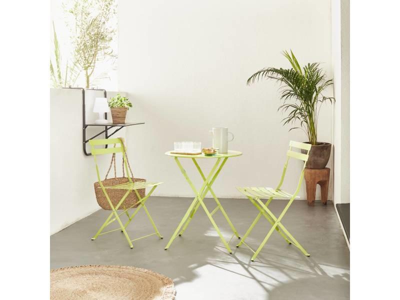 Table de jardin bistrot pliable - emilia ronde verte- table ronde ...
