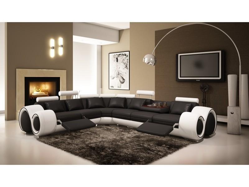 Canapé d'angle design cuir noir et blanc + positions relax oslo (gauche)-