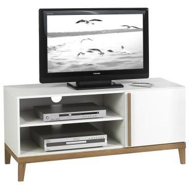Meuble banc tv vintage riga avec 2 niches et 1 porte, en mdf décor blanc et bois