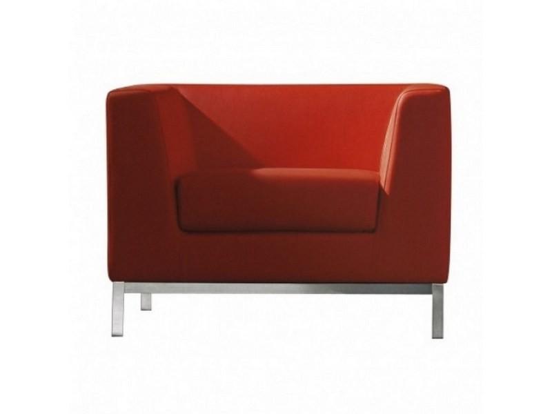 Fauteuil design cubic cuir rouge pieds chromés