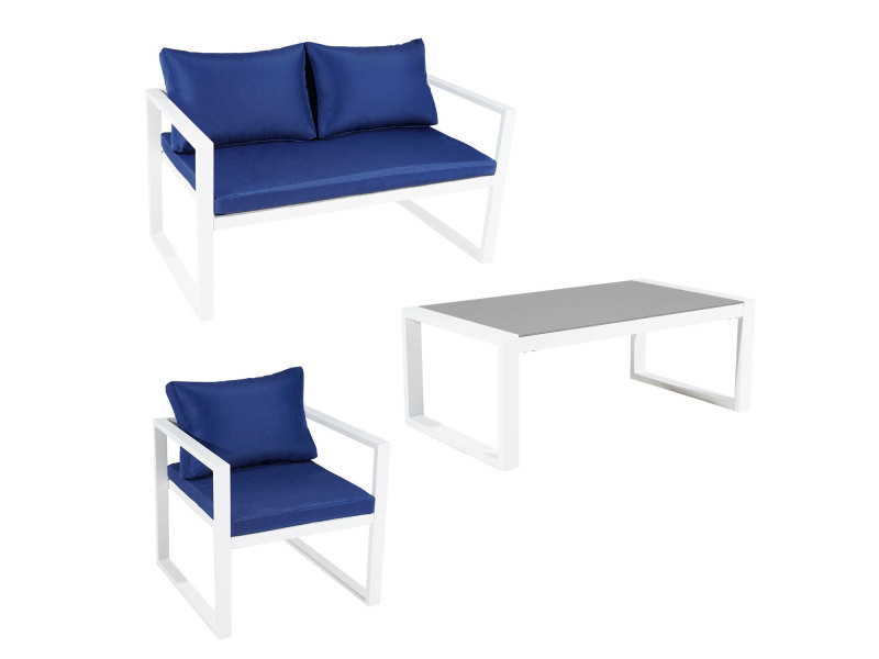Salon de jardin ibiza en tissu bleu 4 places - aluminum ...