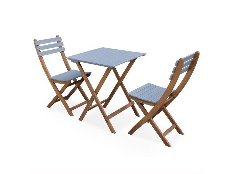 Table de jardin bistrot 60x60cm - barcelona bois / gris ...