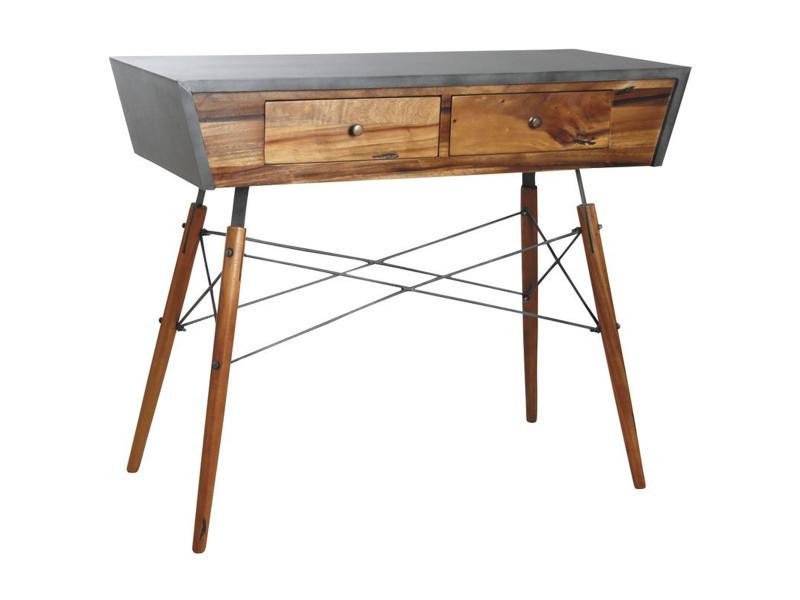 Console en bois de suar massif / métal - dim :110 x 45 x 90 cm - pegane -