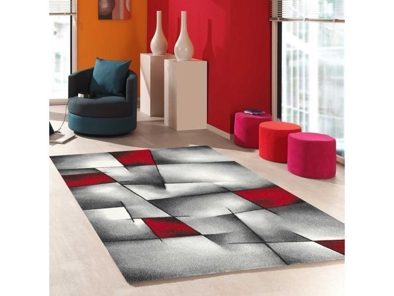 Tapis salon moderne de créateur parlak 3d rouge, noir, blanc, gris ...