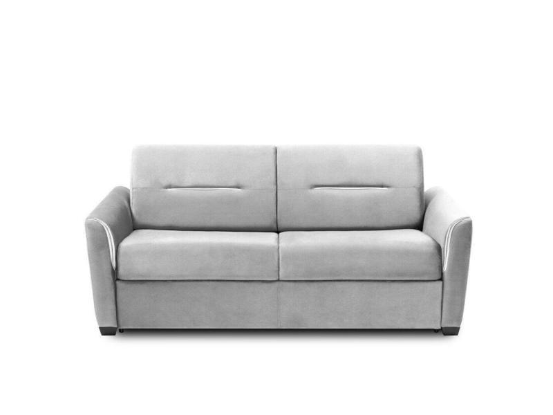 Canapé convertible rapido amazone matelas 120cm comfort bultex® 14cm cuir vachette recyclé gris clair 20100879482