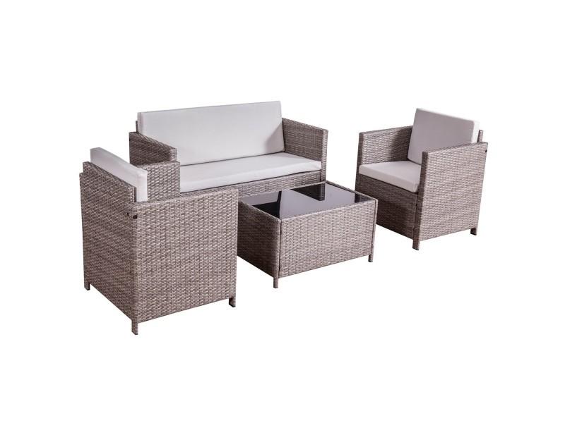 kunga ensemble salon de jardin r sine tress e gris 4. Black Bedroom Furniture Sets. Home Design Ideas