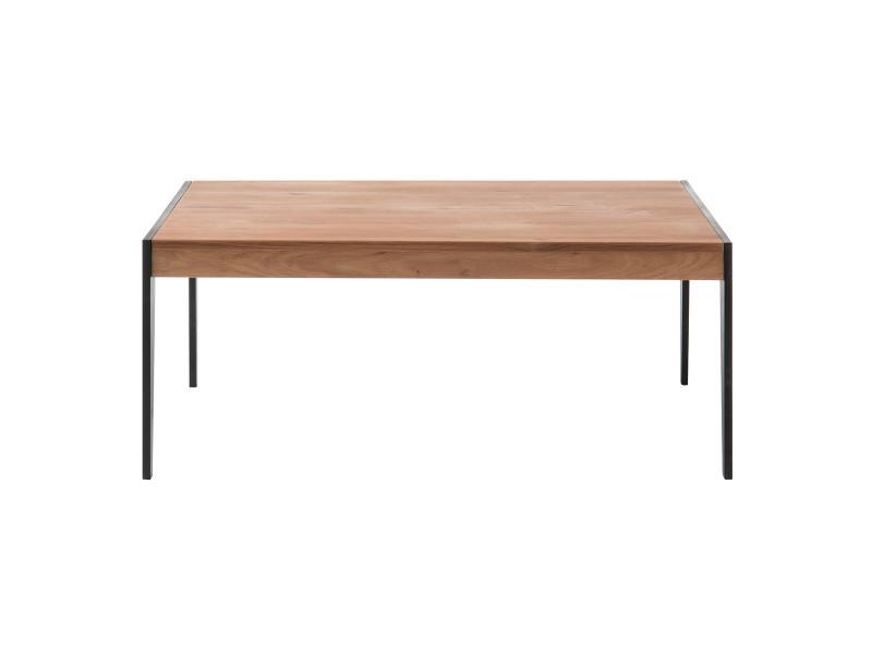 Table basse en chêne massif et métal noir l102 cm lipa