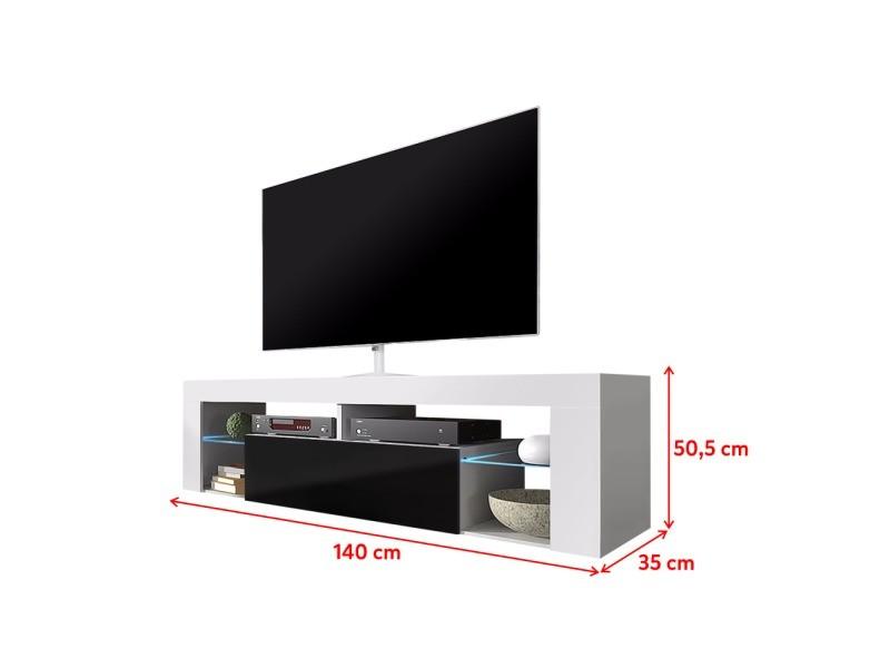 Meuble Tv Bianko 140 Cm Blanc Mat Noir Brillant