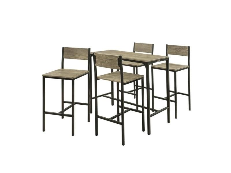 Charmant Set De 1 Table + 4 Chaises Ensemble Table De Bar + 4 Tabourets De Bar Avec  Repose Pieds Table Mange Debout Table Hautecuisine Sobuy® Ogt14
