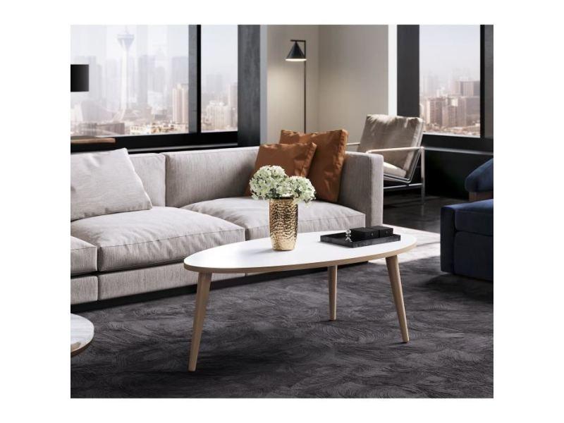 Table basse narvik table basse ovale style scandinave blanc brillant avec pieds en bois - l 110 x l 55 cm
