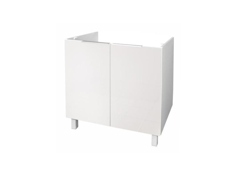 Pop meuble sous-évier l 80 cm - blanc brillant - Vente de ...