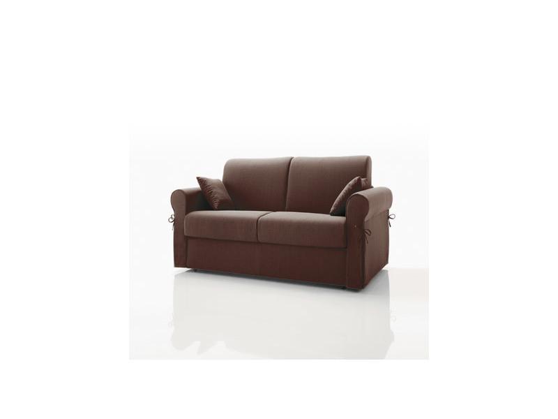 Canapé convertible 2 places, tissu déhoussable - chocolat
