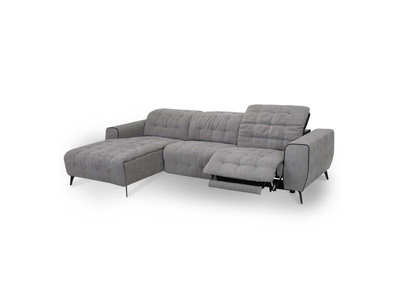 Canapé d'angle relax électrique en tissu gris laura - angle gauche